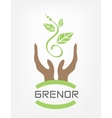 Human hands hold green plant vector
