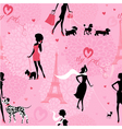 Seamless pattern with black silhouettes of fashion vector