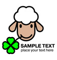 Cartoon white sheep eating a four leaf clover vector