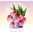 Red tulips in a bucket vector