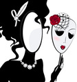 Lady mirror with mask vector