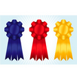 Blue red and yellow ribbons vector