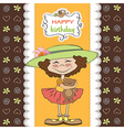 Cute birthday greeting card with girl and her vector