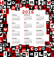 2016 calendar with letters vector