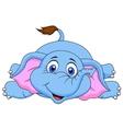 Cute elephant cartoon lying on the floor vector
