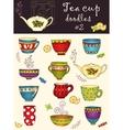 Set of doodle tea cup series of doodles vector