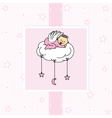 Birth card baby girl vector