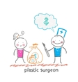 Plastic surgeon thinks about money and takes a bag vector