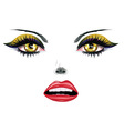 Face with yellow eyes vector