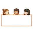 Kids holding wooden frame vector
