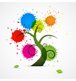 Abstract tree with colorful blobs splashes vector