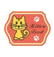 Pretty kitten food label vector