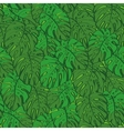 Seamless background monstera green leaves vector