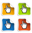 Pixel cursor hand stickers vector