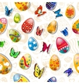 Seamless pattern of easter eggs and butterflies vector