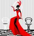 Smoking lady in red vector
