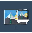 Modern photo set on blue background vector