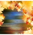 Autumn leaves over wooden background eps10 vector