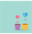Two heart stick flowers in the pots flat design vector