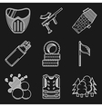 White flat line icons for paintball vector