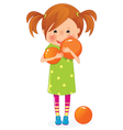 Girl with ball vector