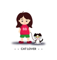 Cat lover girl vector
