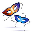 Two venetian carnival masks on a white background vector