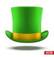 Green hat cylinder with gold ribbon vector