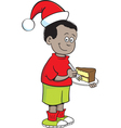 Cartoon santa hat boy vector