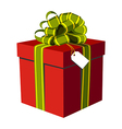 Red gift box with green and golden ribbon vector