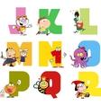 Joyful cartoon alphabet collection 2 vector
