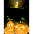 Jack o lanterns and burning candles vector