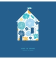 Blue and yellow flowersilhouettes house silhouette vector
