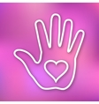Linear of hand print with heart icon vector