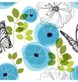 Blue flowers and butterfly over white nature vector