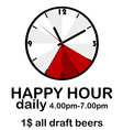 Happy hour concept with clock vector