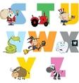 Joyful cartoon alphabet collection 3 vector