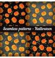 Halloween pumpkins set of seamless patterns vector