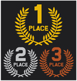 First place second place and third place vector