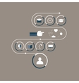 Flat icons interior items in the workroom vector