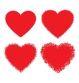 Set of red hand drawn grunge hearts vector