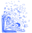 Blue sketch doodles with cats and books vector