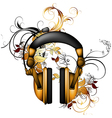 Headphones with floral elements vector