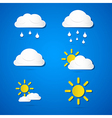 Weather icons - clouds sun rain on blue background vector