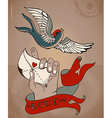 Old-school style tattoo valentine card with mans vector
