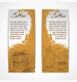 Vetical retro coffe set banners vector
