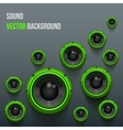Green sound load speakers on dark background vector