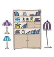 Shelf and lamps - design elements vector