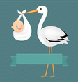 Poster stork with baby boy vector