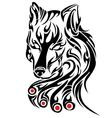 Fier wolf head on a white background vector